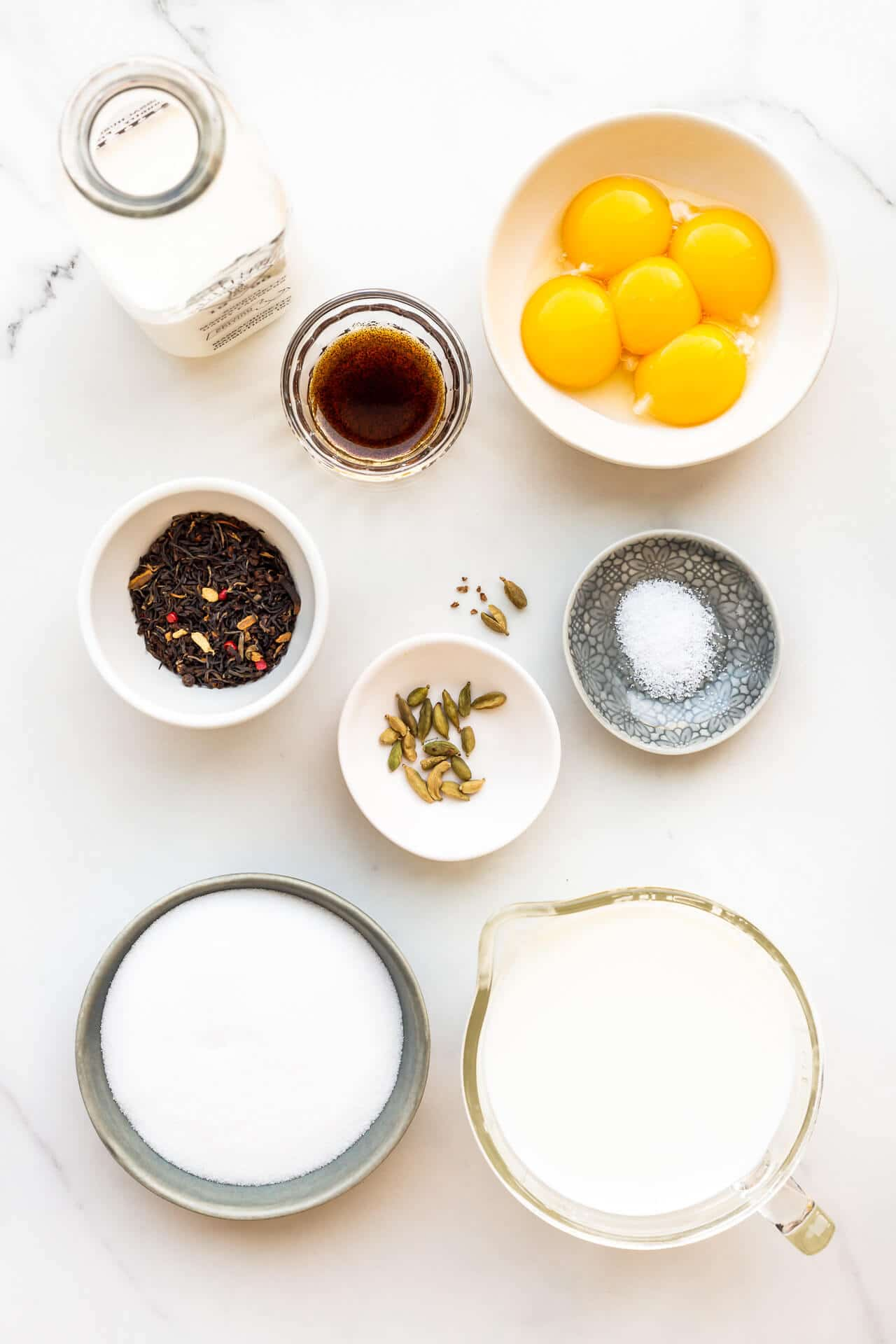 Ingredients for masala chai ice cream
