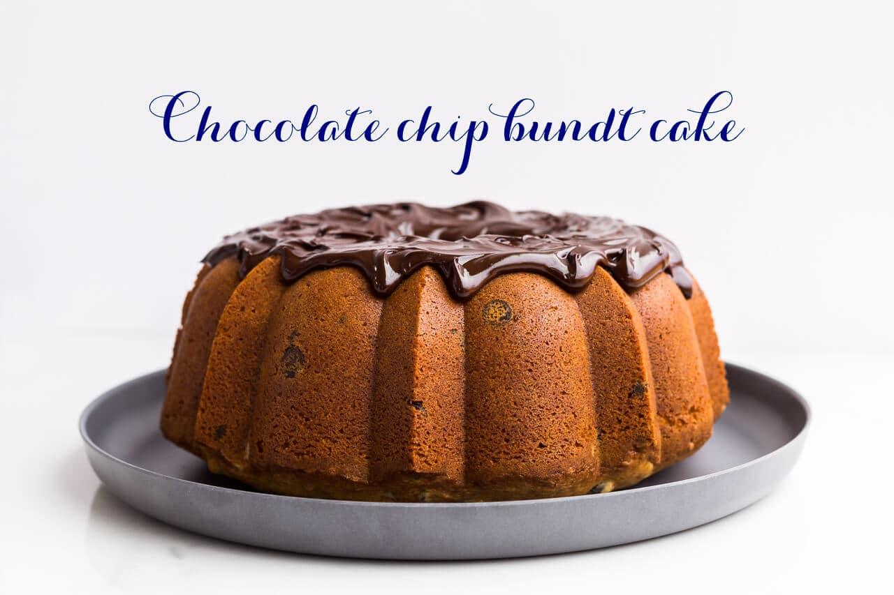 Chocolate chip bundt cake with chocolate ganache