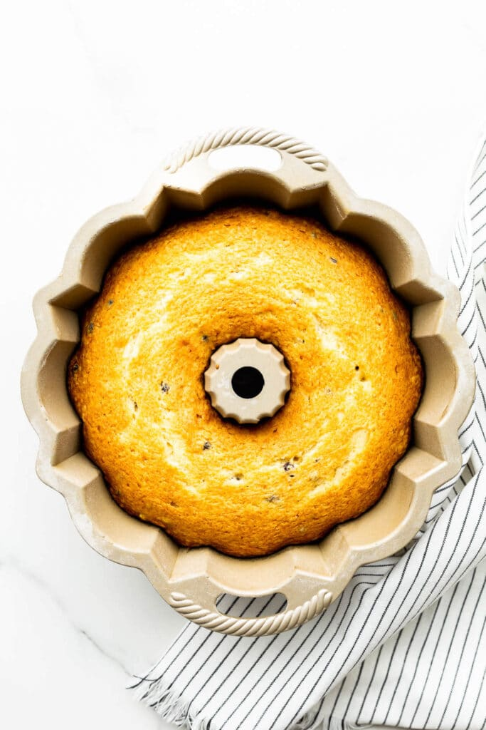 Freshly baked bundt cake in bundt pan before unmoulding.