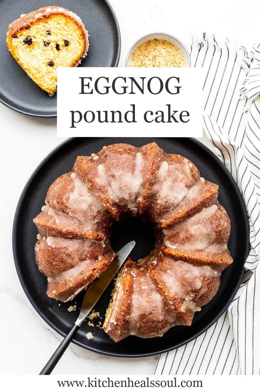 Eggnog pound cake being served on black plates.