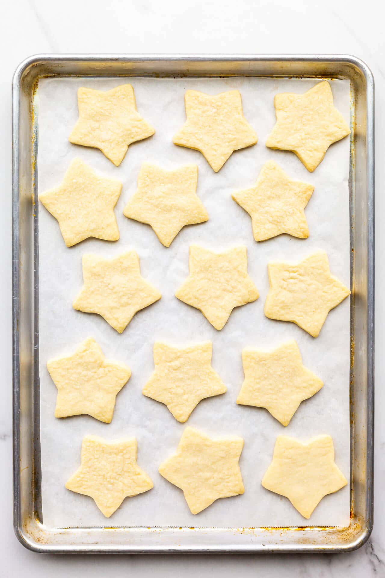 Freshly baked star-shaped shortbread cookies.