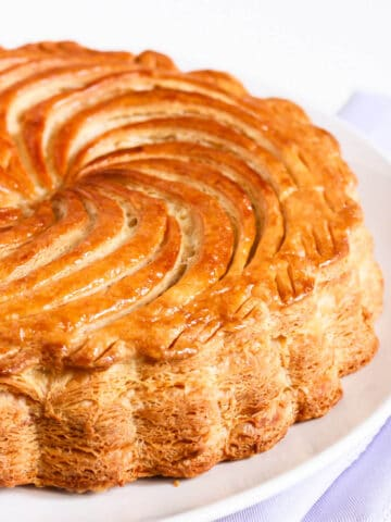 Homemade galette des rois made with puff pastry