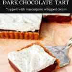 Square tart filled with dark chocolate ganache and topped with whipped cream flecked with Earl Grey tea leaves