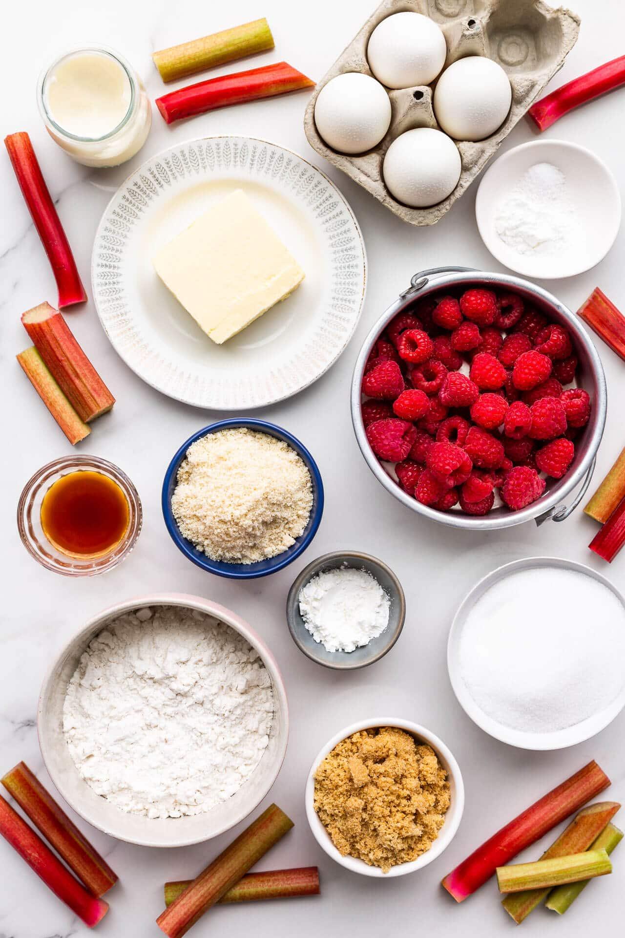Ingredients for rhubarb upside down cake with raspberries