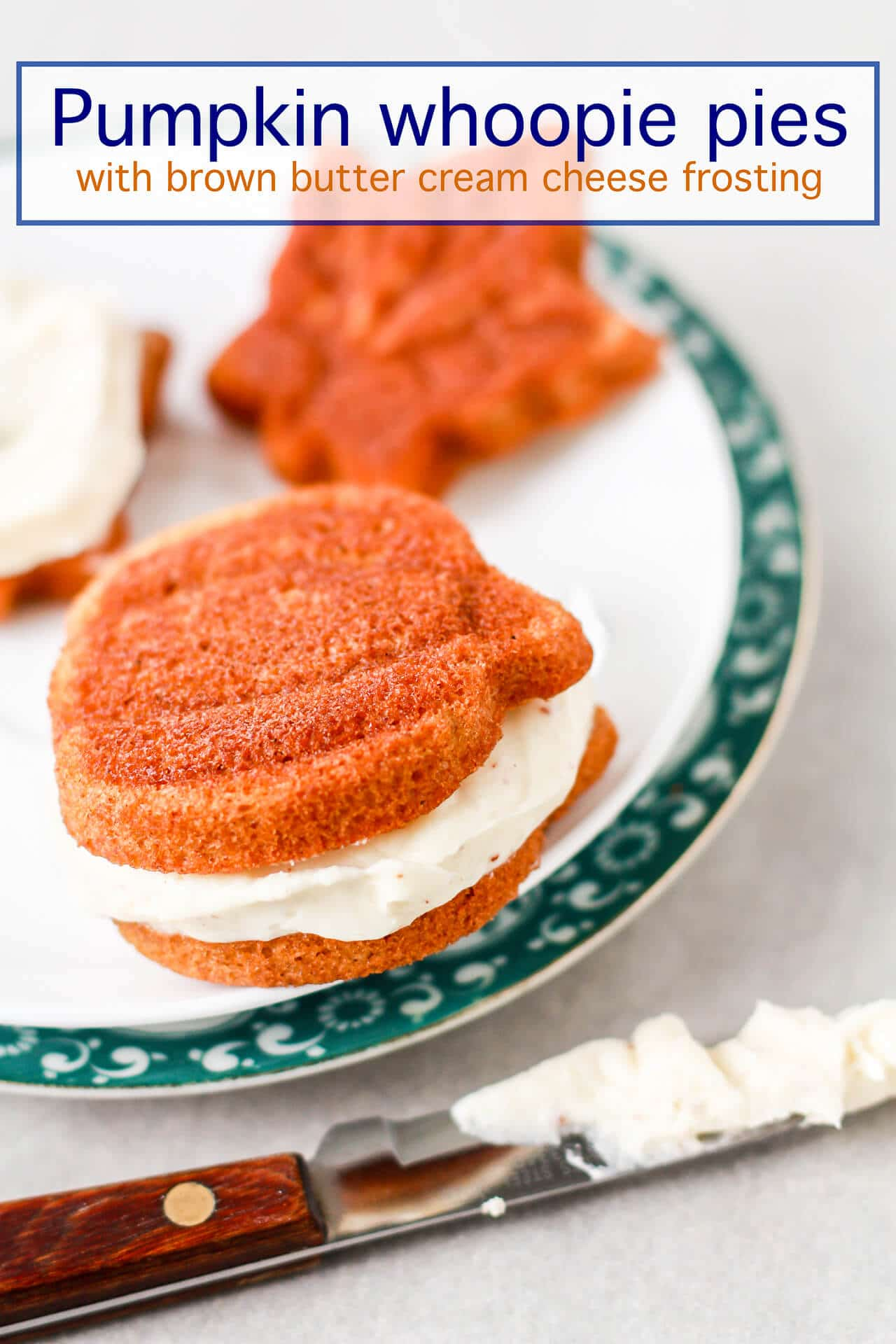 pumpkin whoopie pies with a brown butter cream cheese filling baked in the shape of pumpkins and leaves.