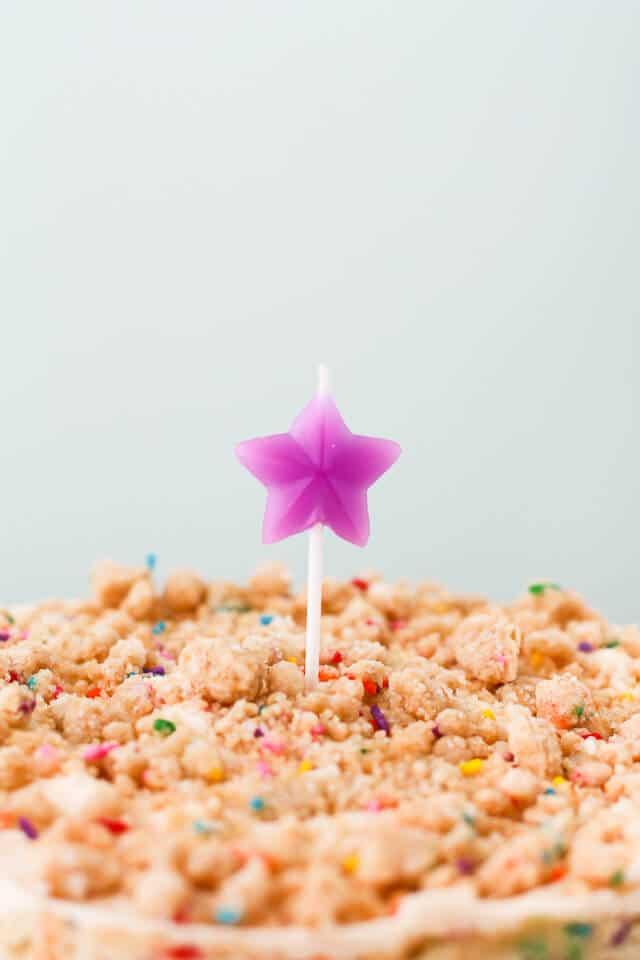Momofuku Milk Bar birthday cake- the key is the birthday cake crumbs layered inside and on top