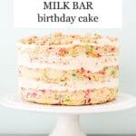 "Milk Bar-style ""naked"" sprinkle birthday cake on a cake stand"