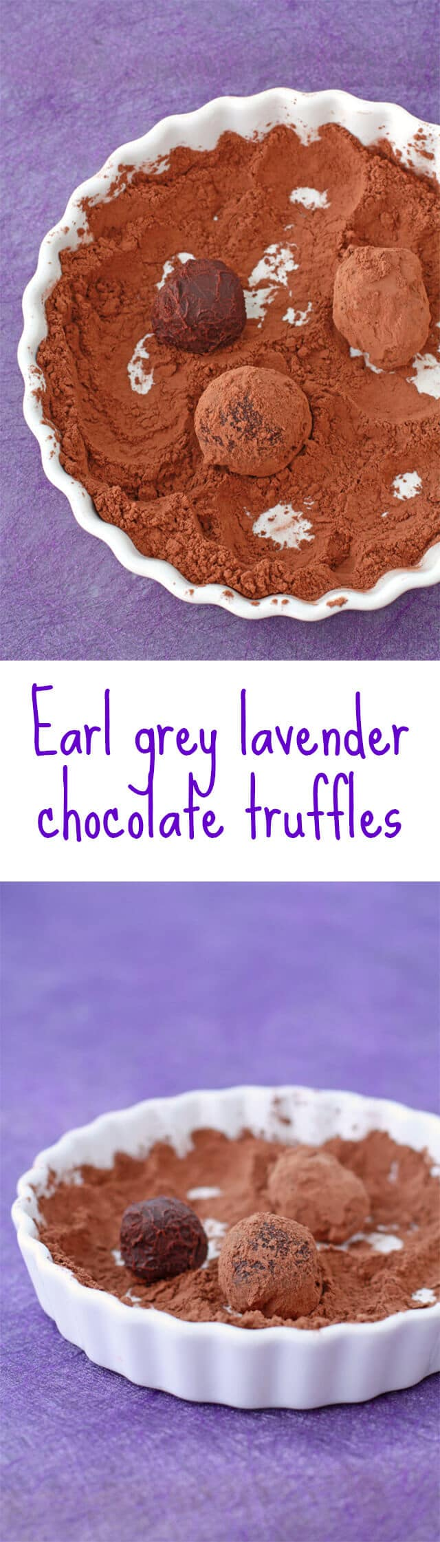 Easy chocolate truffles recipe flavoured with Earl grey lavender tea, but you can make plain chocolate truffles too if you prefer