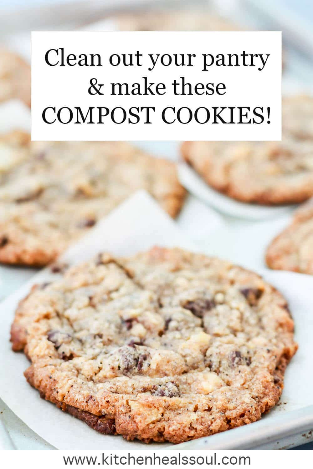 Compost cookies (also called kitchen sink cookies) baked on parchment lined baking sheet