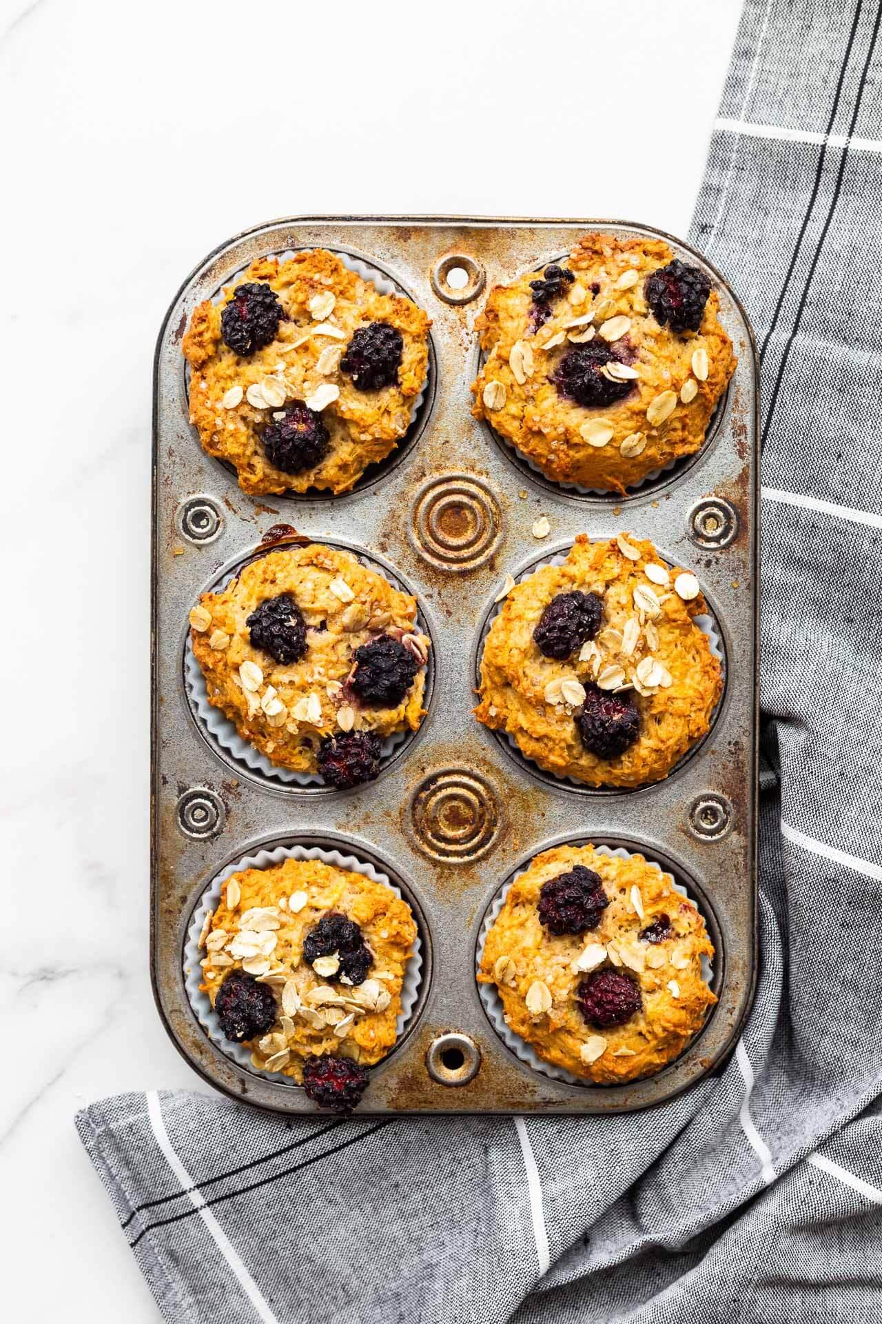 Freshly baked blackberry oat muffins