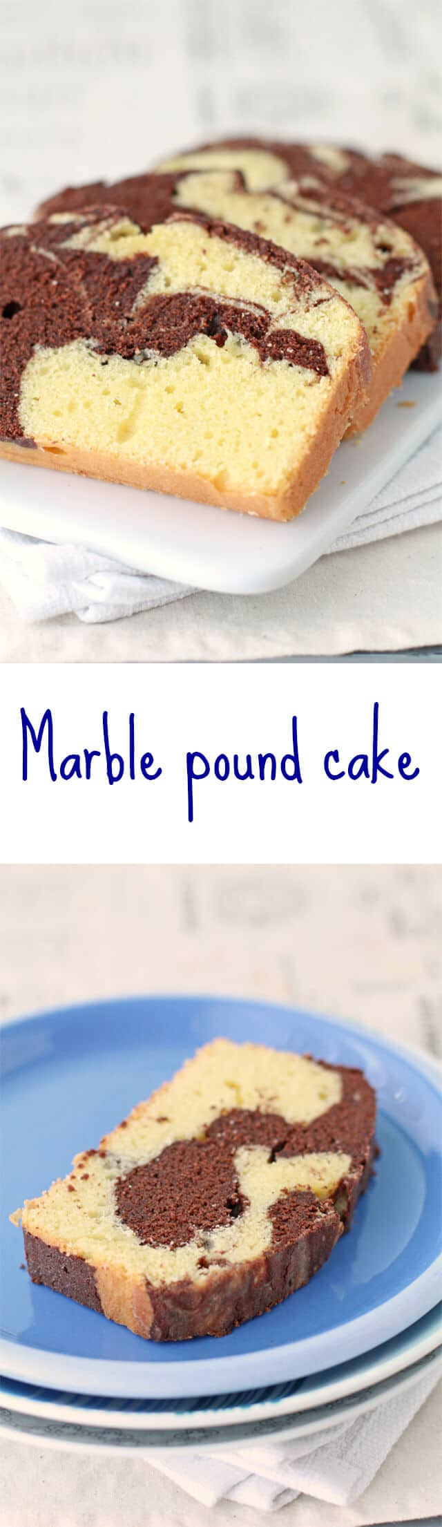 Chocolate and vanilla marble pound cake is the best marble cake recipe for-afternoon tea and makes a great snacking cake