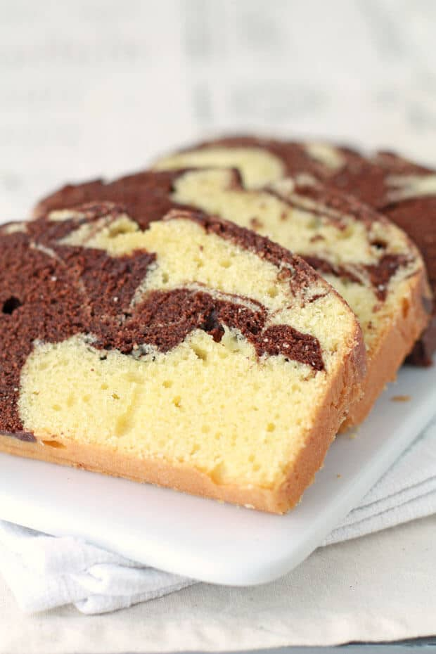 Slices of a loaf of chocolate marble pound cake