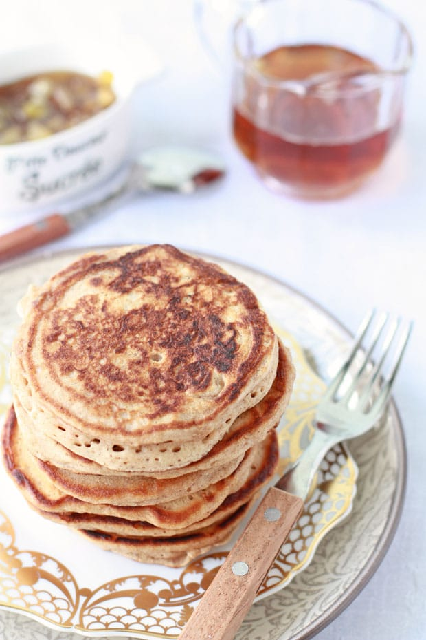 Spiced buttermilk pancakes with apple maple syrup ...