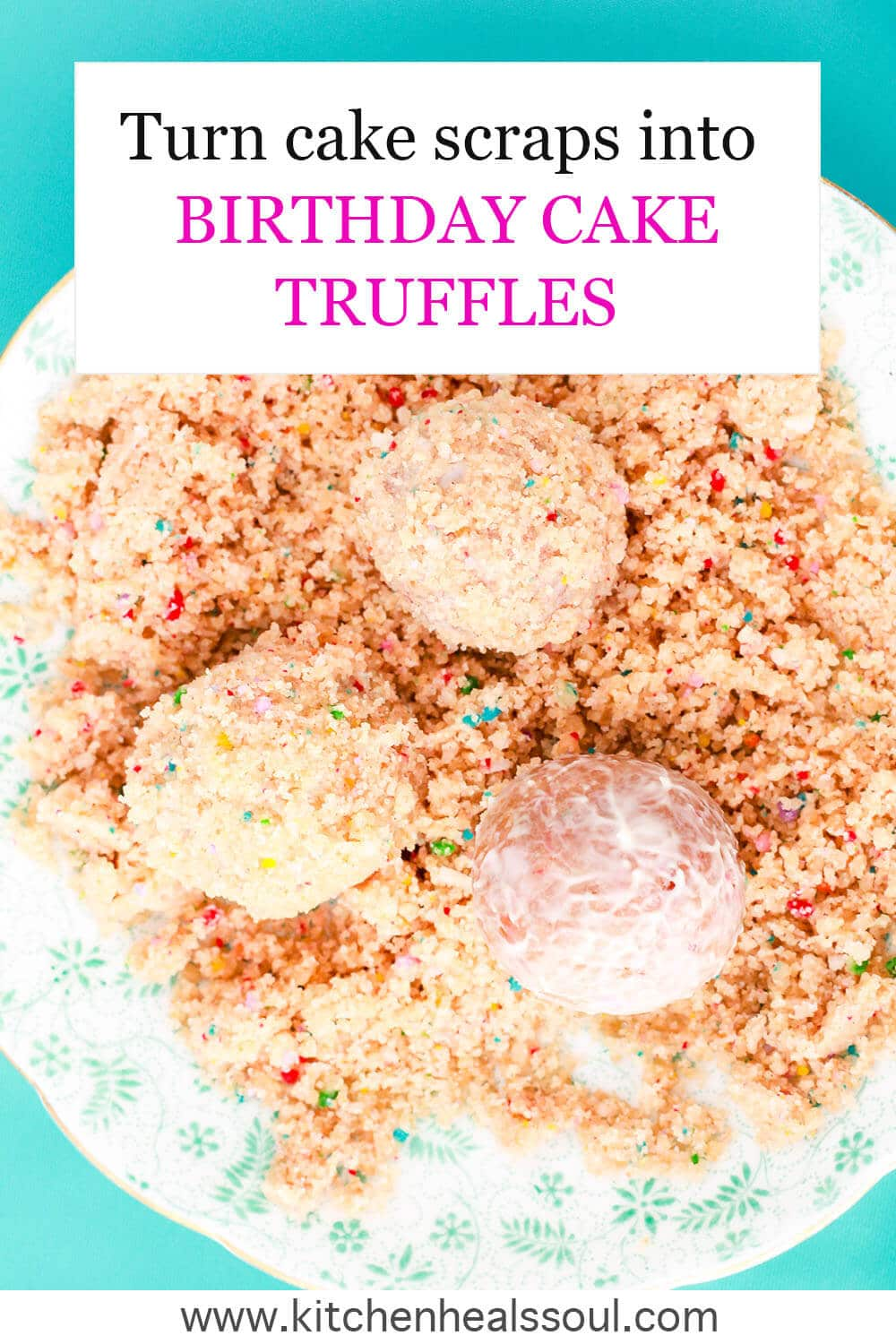 Coating birthday cake truffles in white chocolate and birthday cake crumbs on a floral saucer on a turquoise background