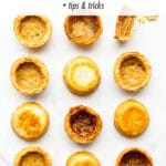 A dozen butter tarts all baked differently to test how to make the best butter tarts from scratch.