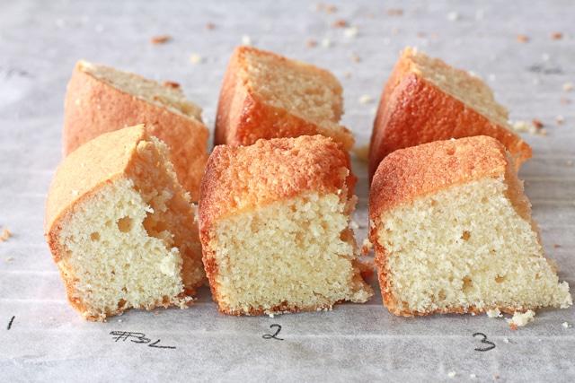 Comparing three Vanilla cake crumb to find the best vanilla cake recipe ever