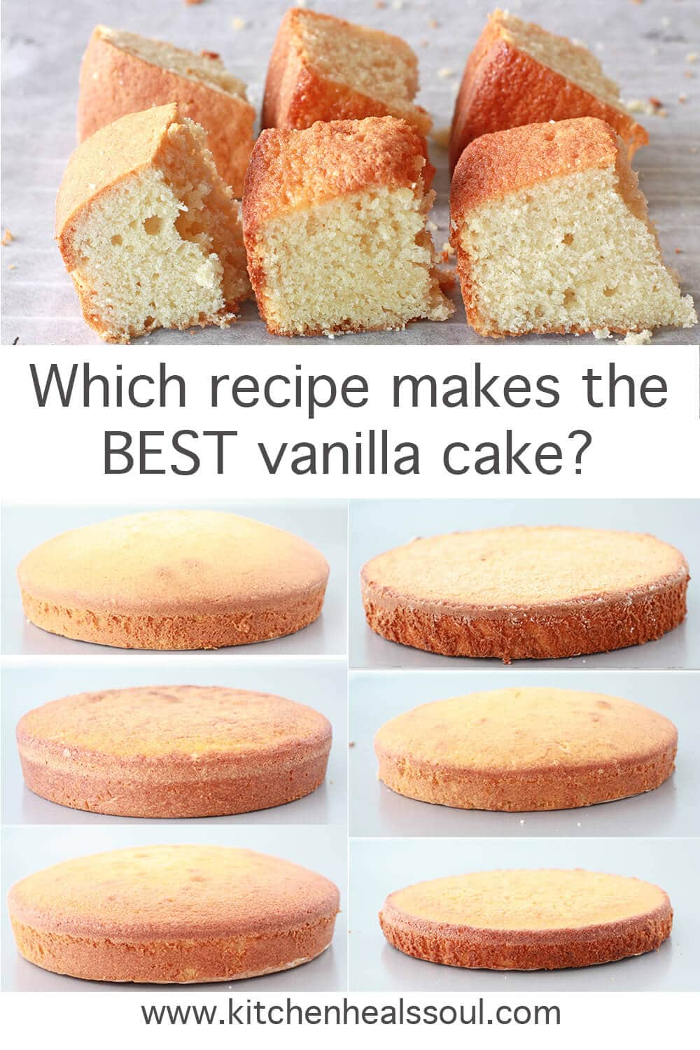 A comparison of 6 vanilla cakes side by side, full cakes and cut pieces to show interior