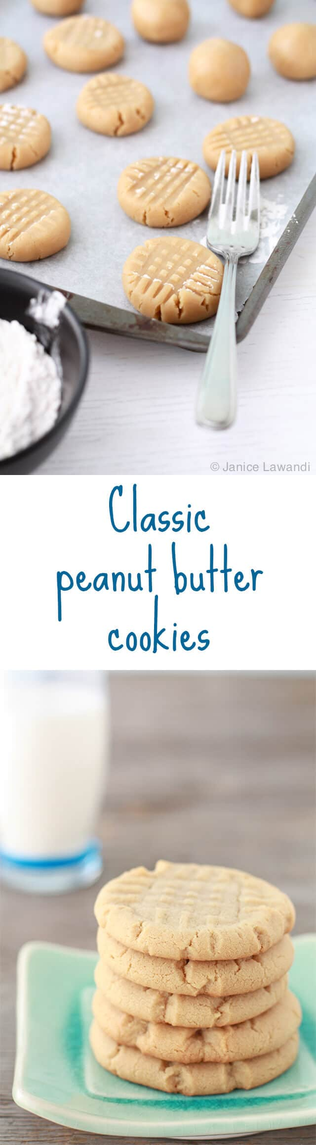 Classic peanut butter cookies made with natural peanut butter and pressed with a fork for the signature criss-cross pattern