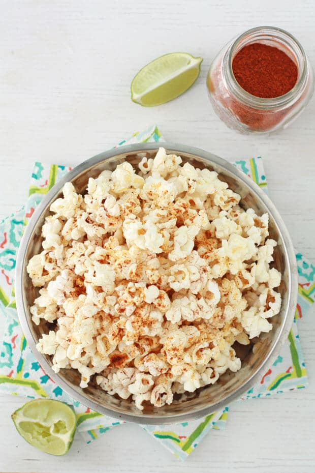 Chili lime popcorn made with chili powder, lime zest