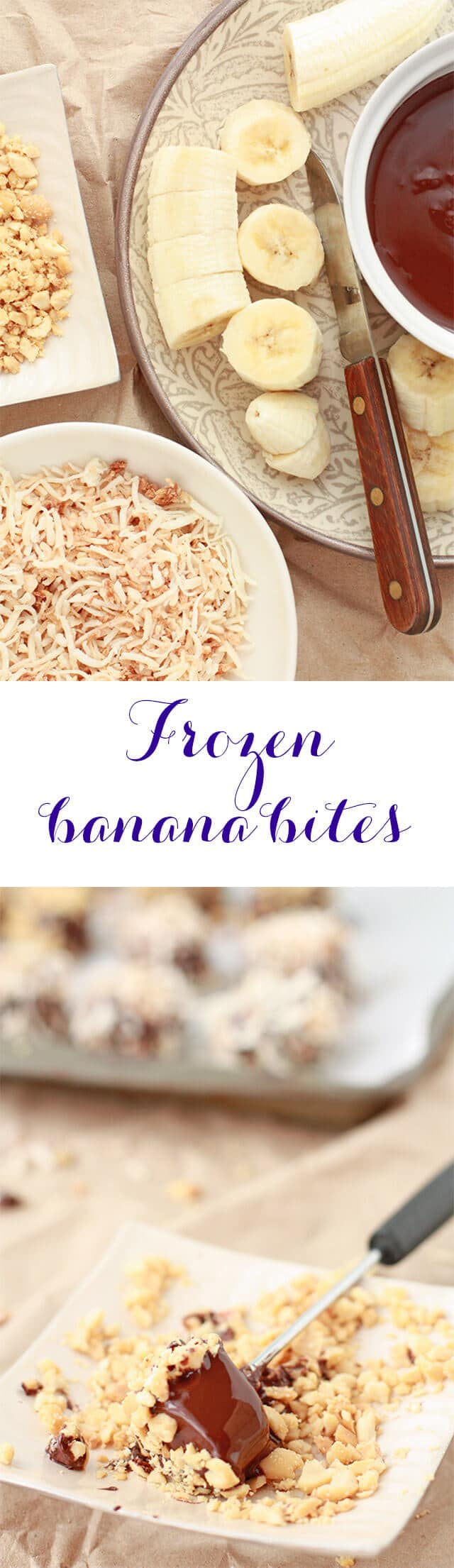 Frozen banana bites dipped in melted chocolate and toasted coconut for the perfect healthy sweet treat