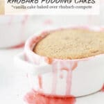 Rhubarb pudding cake baked in miniature ceramic dutch ovens