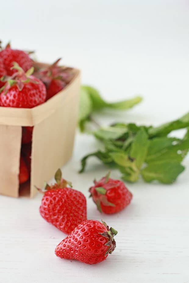 Fresh strawberries and mint are the ingredients in this summer strawberry drink