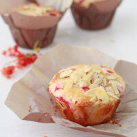 Freshly baked red currant muffins