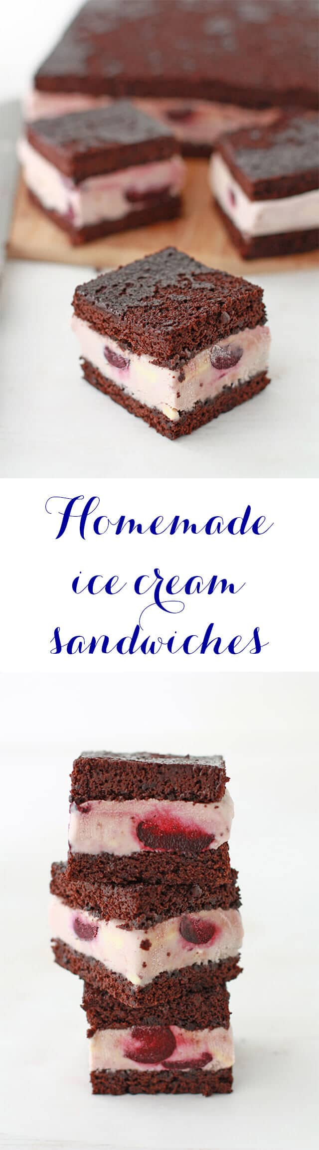 A recipe for classic homemade ice cream sandwiches made with thin layers of chocolate brownie cake and homemade cherry ice cream with bourbon