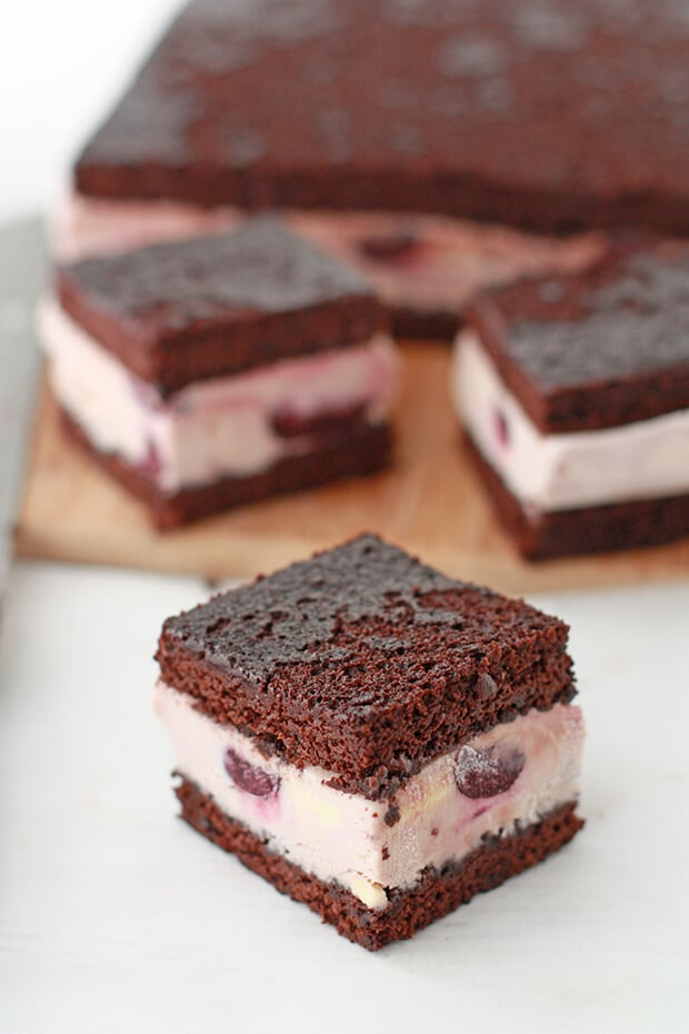 Homemade ice cream sandwiches cut from a larger ice cream cake
