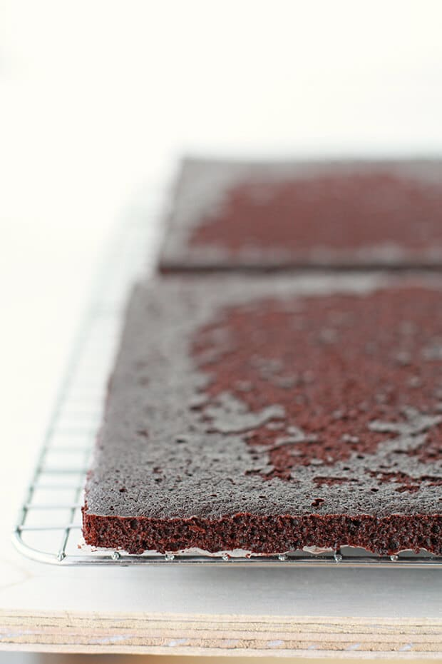 Thin chocolate cake layers for homemade ice cream sandwiches cooling on rack