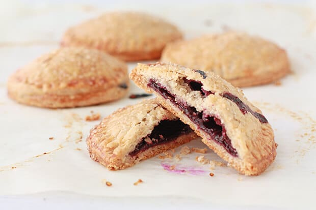 Homemade blueberry hand pies with a fresh blueberry filling