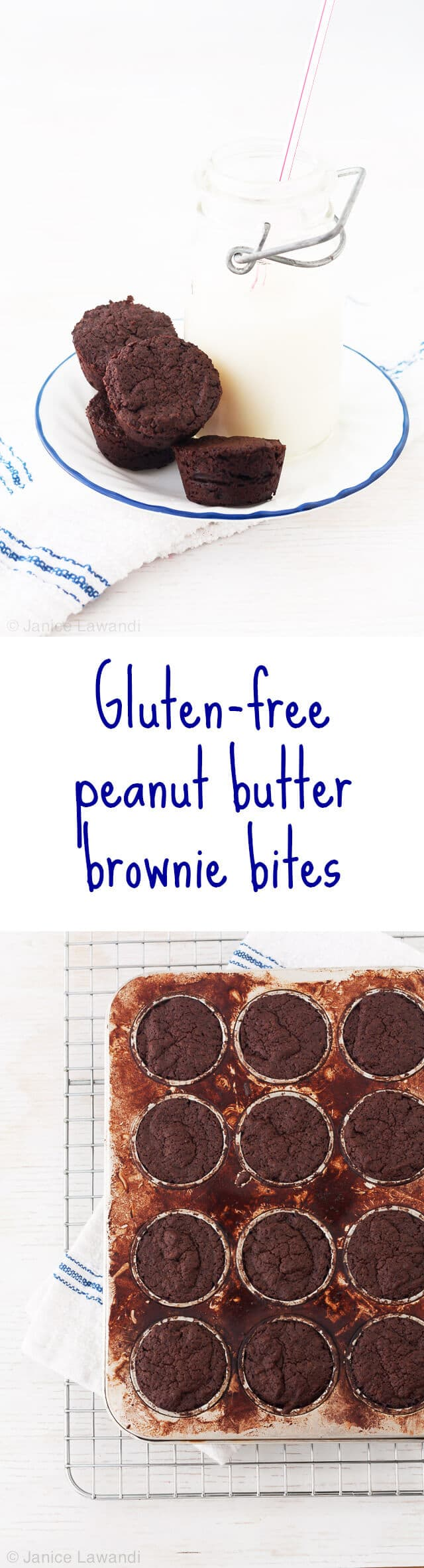 Gluten-free peanut butter brownie bites recipe baked in a mini muffin pan