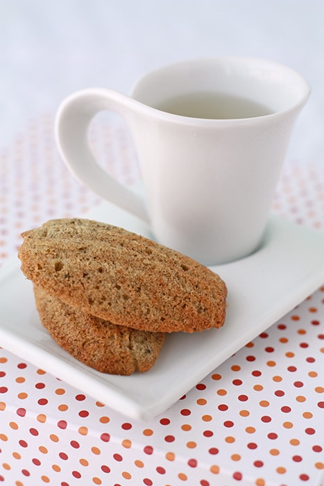 jasmine tea madeleines with a cup of tea