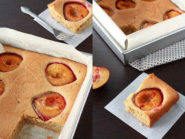 Collage of images of plum cake, a square cake with plum halves baked on top.