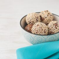 Bowl of sesame date truffles