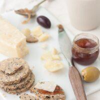 Savoury sesame cookies cheese jam
