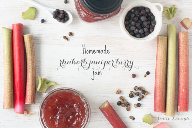 homemade rhubarb jam with juniper berries