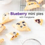 Blueberry mini pies with frangipane, triangle shaped mini pies