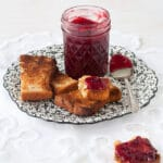 Spiced plum jam with toast