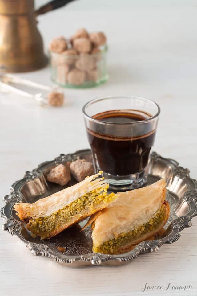 Pistachio baklava served with Turkish coffee