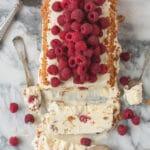 raspberry amaretti semifreddo slice