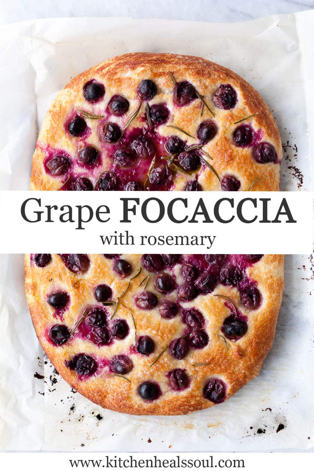 Grape focaccia freshly baked with rosemary