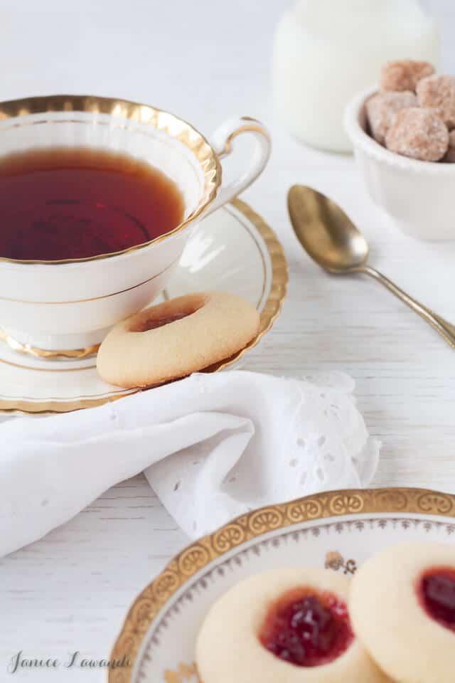 Jam thumbprint cookies and tea