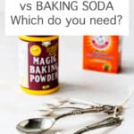 A box of baking soda and a container of Magic baking powder with a set of measuring spoons for scooping these chemical leaveners