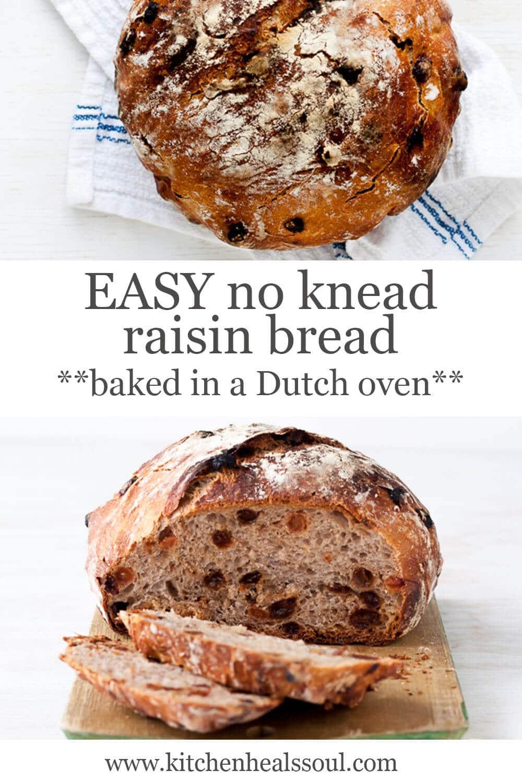 Crusty loaf of no knead raisin bread (round boule) and sliced raisin bread on wood cutting board