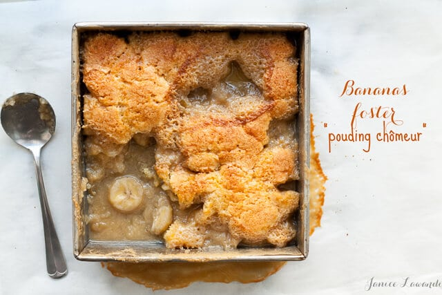 bananas foster pouding chômeur is like a boozy banana pudding cake