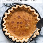 Traditional maple syrup pie with a crimped all-butter pie crust. The original maple pie recipe can be found printed on some cans of Quebec maple syrup