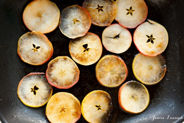 Cooking apple slices in a non-stick fry pan