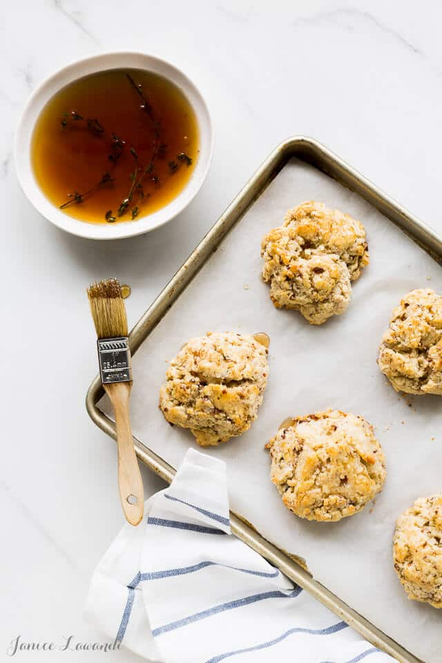 Bourbon-maple glazed cheddar bacon biscuits