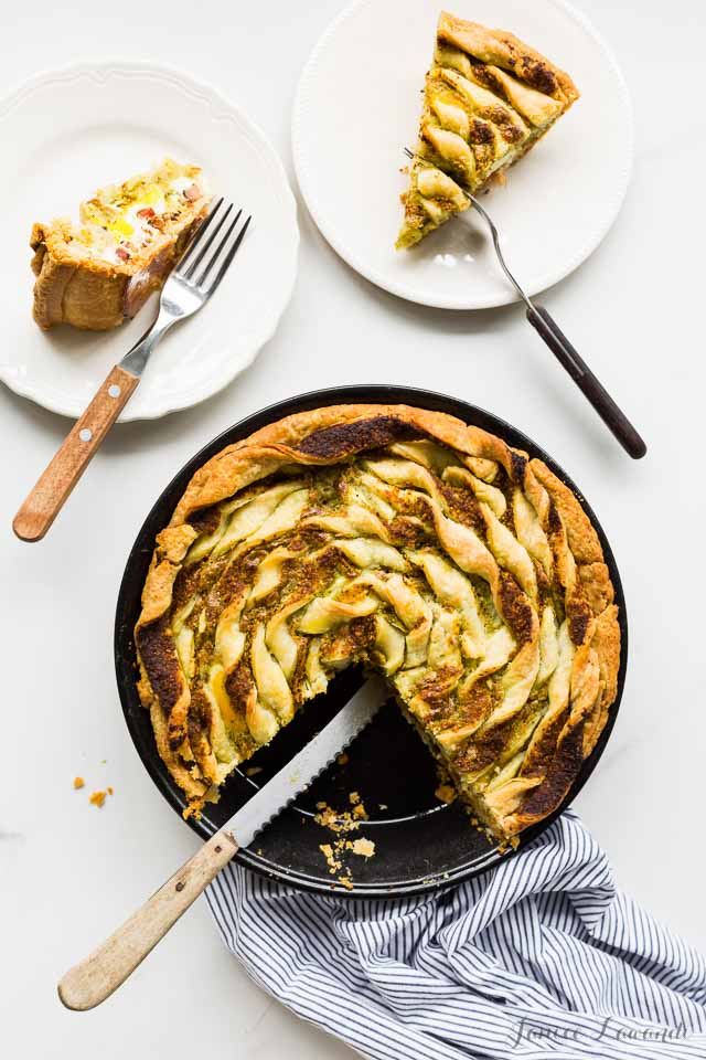 Bacon & egg pie with ramp pesto | Kitchen Heals Soul https://bakeschool.com/2016/05/26/bacon-egg-pie/html